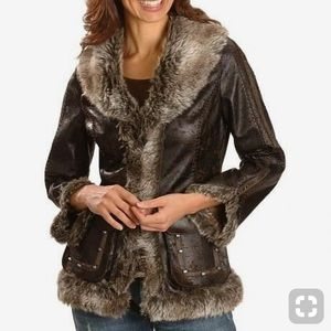 Scully Faux Leather Faux Fur Trim Jacket